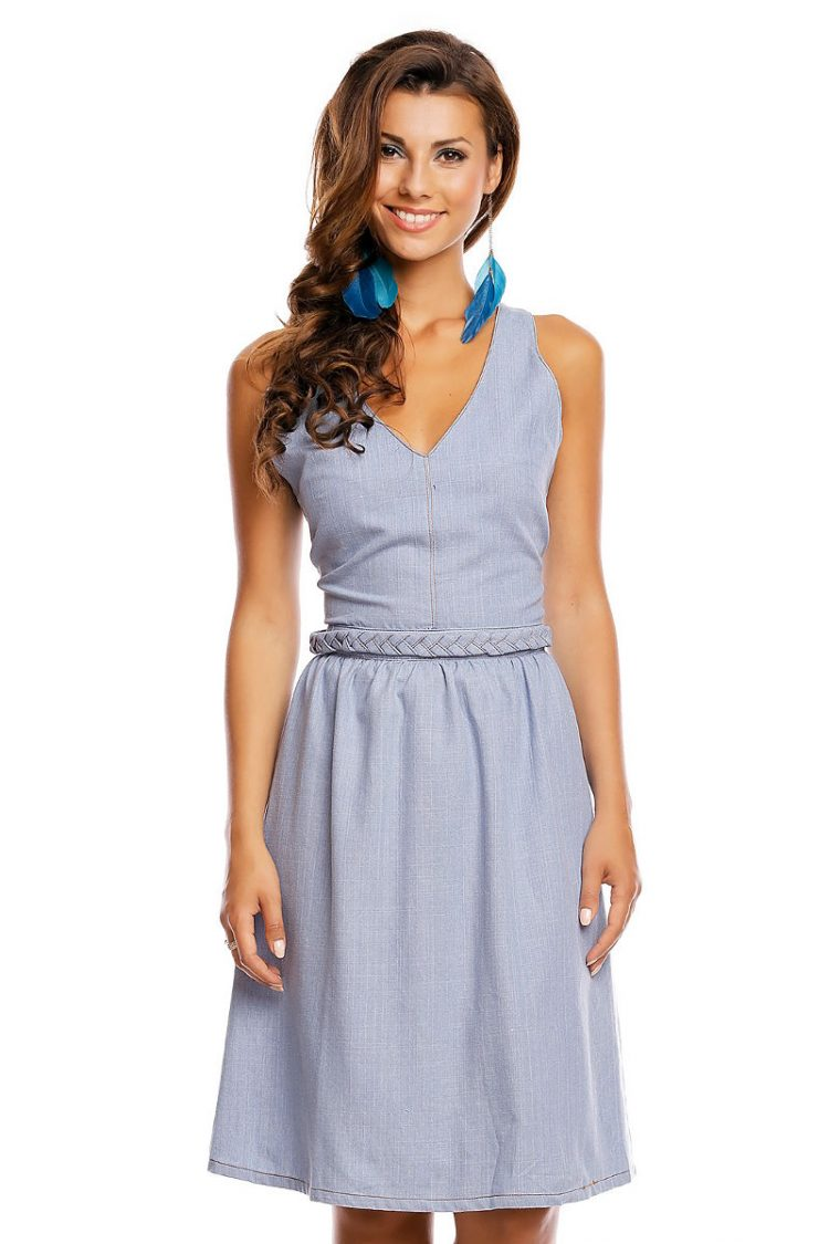 Εξώπλατο τζιν φόρεμα - Μπλε