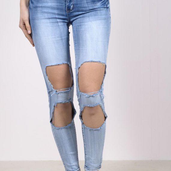 Ξεβαμμένο τζιν παντελόνι με μεγάλα σκισίματα - Μπλε