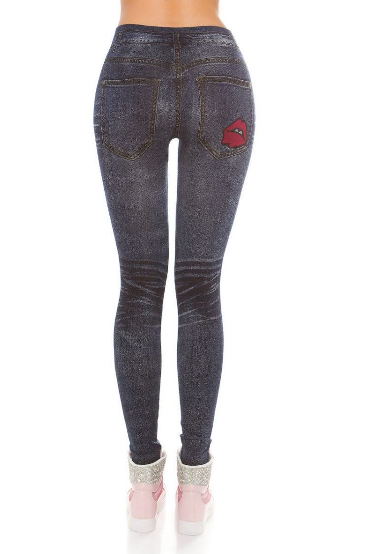 Jeans look leggings με print - Μπλε 1