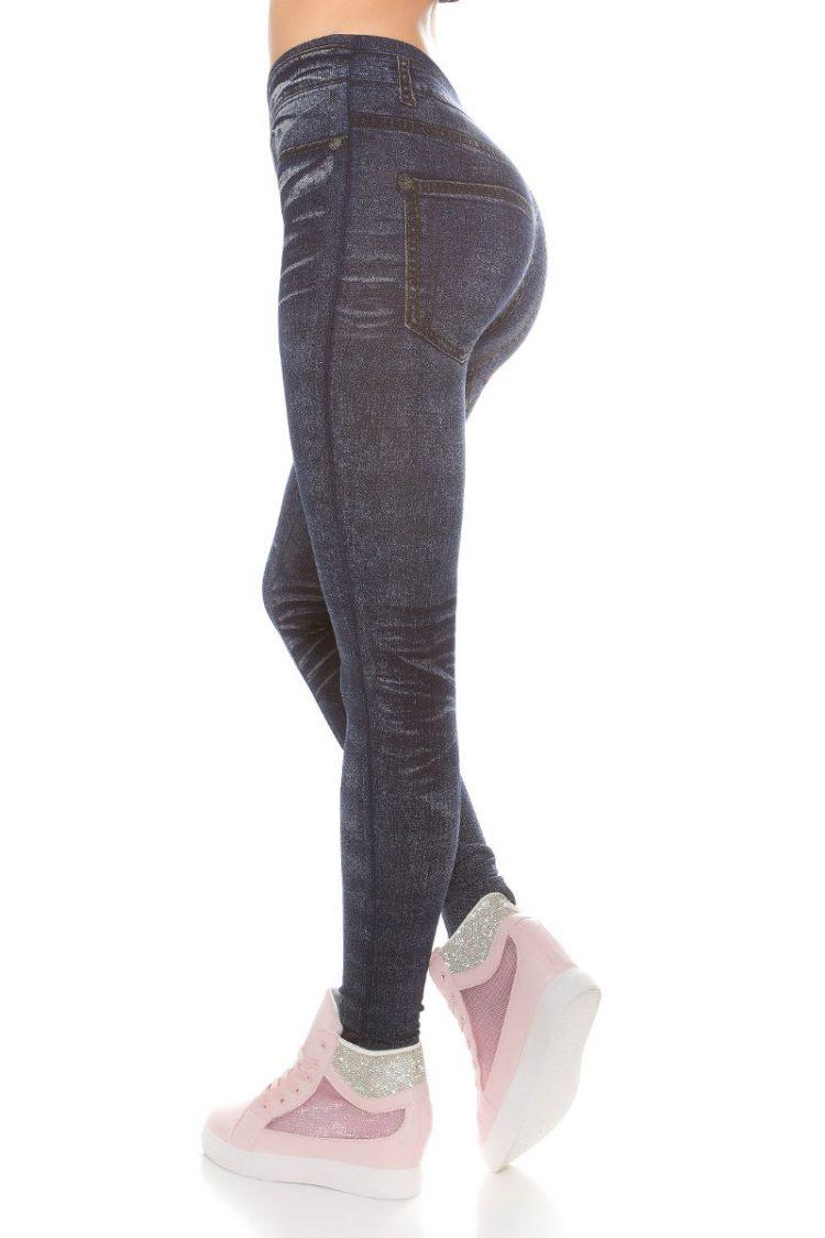 Jeans look leggings με print - Μπλε 2