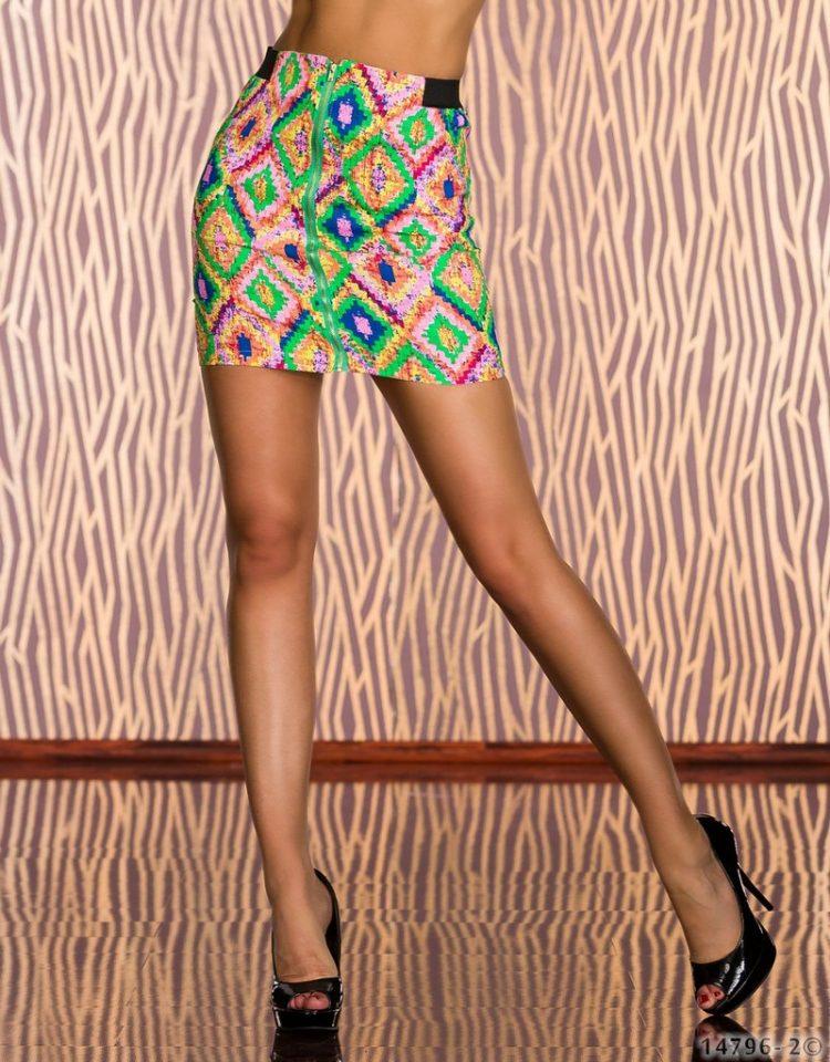 Τζιν μίνι ελαστική φούστα με σχέδια-Πράσινο