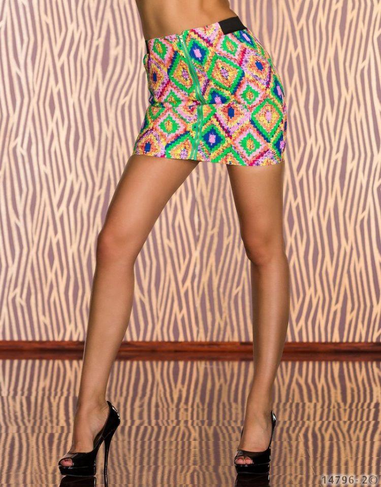 Τζιν μίνι ελαστική φούστα με σχέδια-Πράσινο 1
