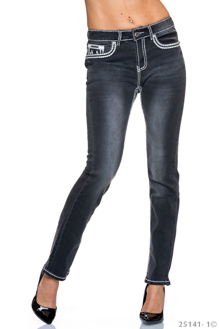 Τζιν παντελόνι με εξώραφα - Μαύρο