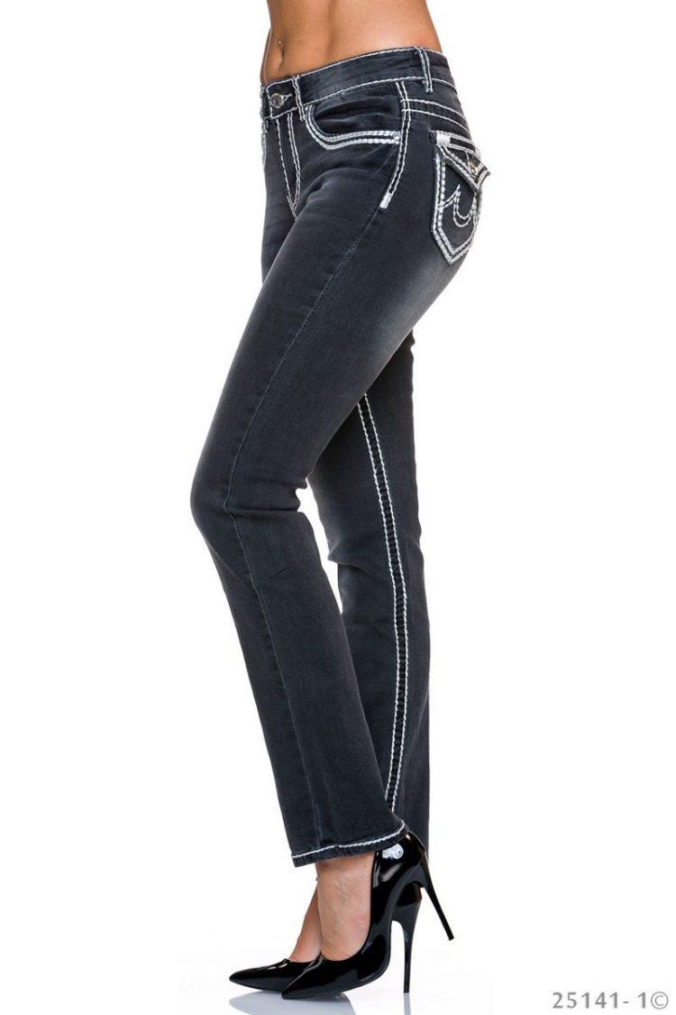 Τζιν παντελόνι με εξώραφα - Μαύρο 2
