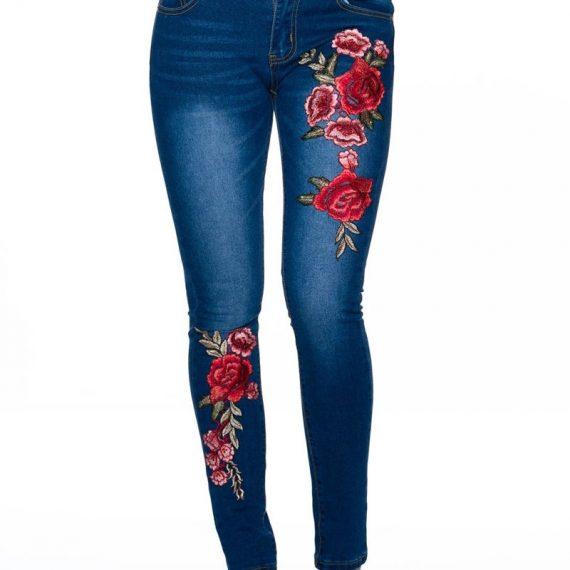 Τζιν παντελόνι με φλοράλ κέντημα - Μπλε