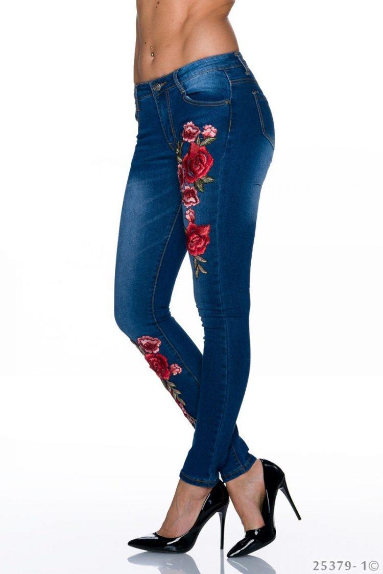 Τζιν παντελόνι με φλοράλ κέντημα - Μπλε 2