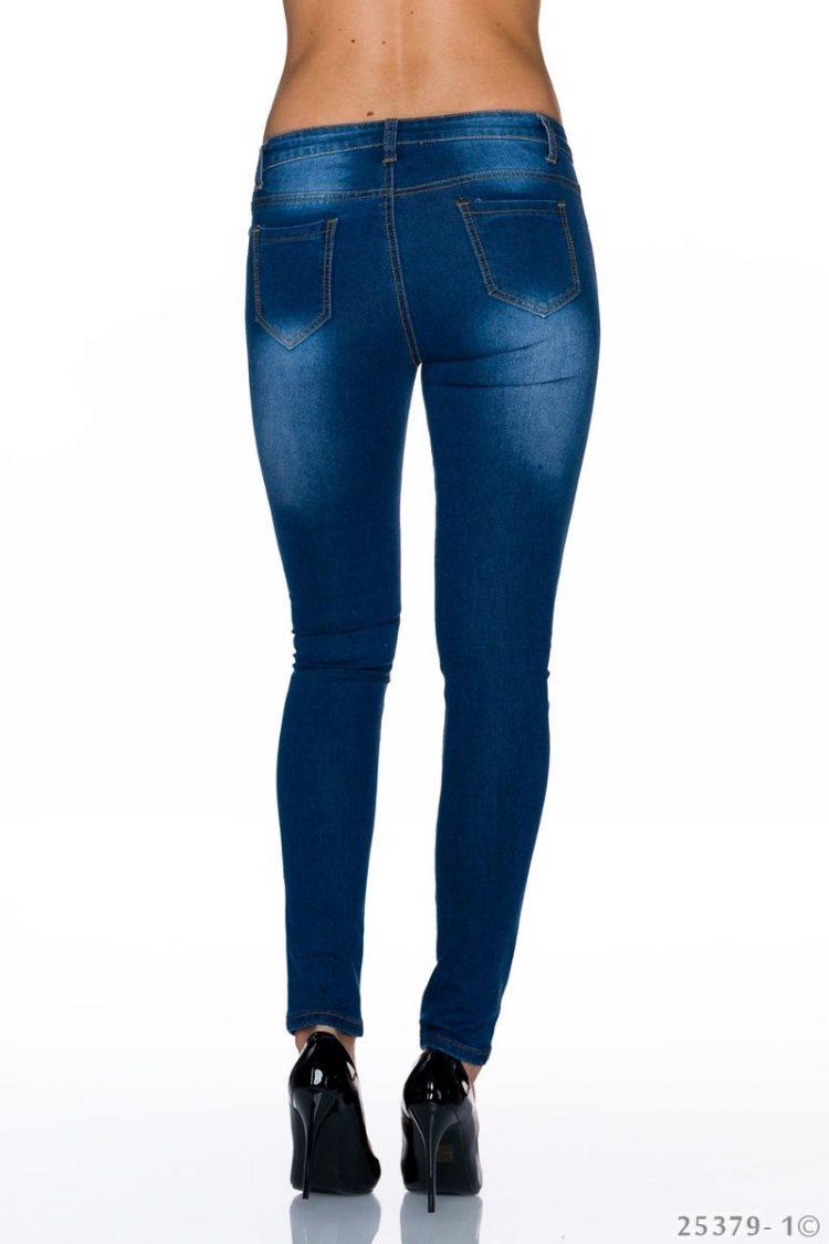 Τζιν παντελόνι με φλοράλ κέντημα - Μπλε 1