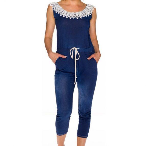 Τζιν ολόσωμη φόρμα με δαντέλα - Σκούρο Μπλε