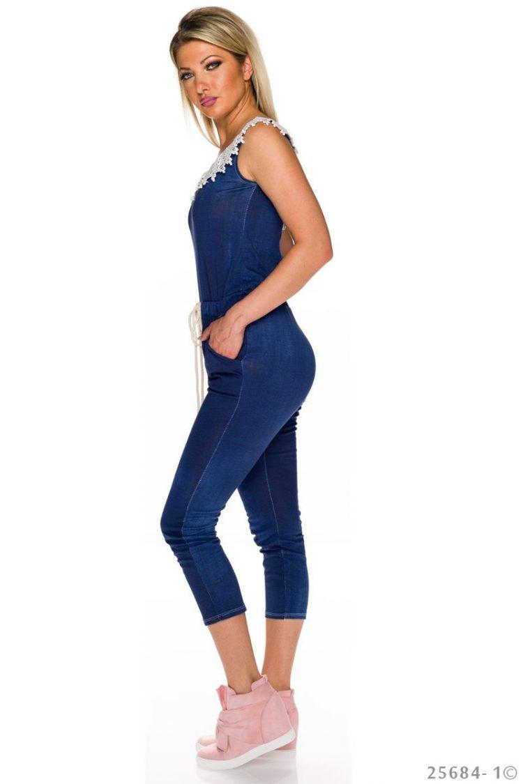 Τζιν ολόσωμη φόρμα με δαντέλα - Σκούρο Μπλε 2