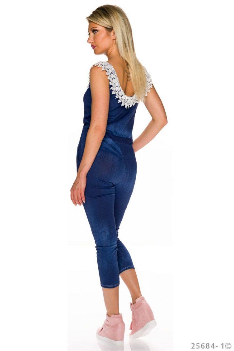 Τζιν ολόσωμη φόρμα με δαντέλα - Σκούρο Μπλε 1