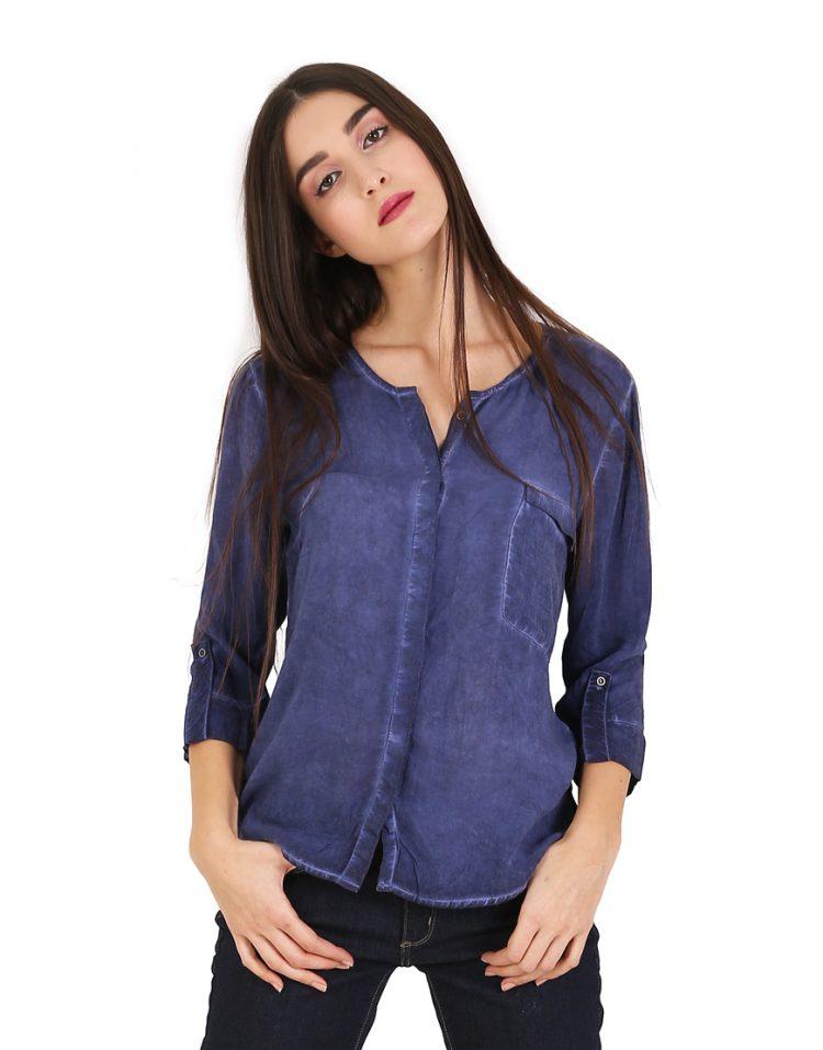 Μπλε τζιν πουκάμισο με 3/4 μανίκι