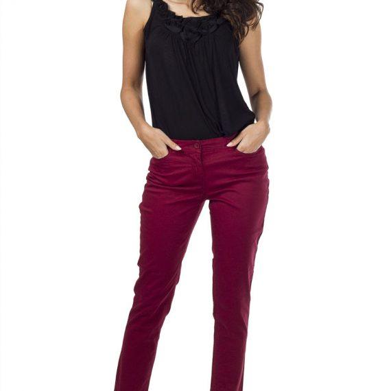 Τζιν παντελόνι με πλάγιες τσέπες - Magenta