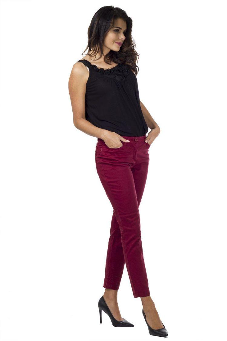 Τζιν παντελόνι με πλάγιες τσέπες - Magenta 2