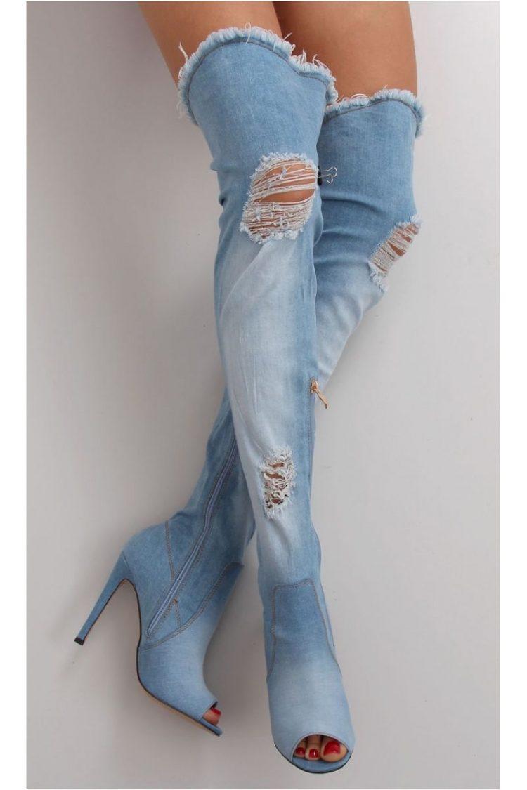 Τζιν ψηλοτάκουνες μπότες - Μπλε 3