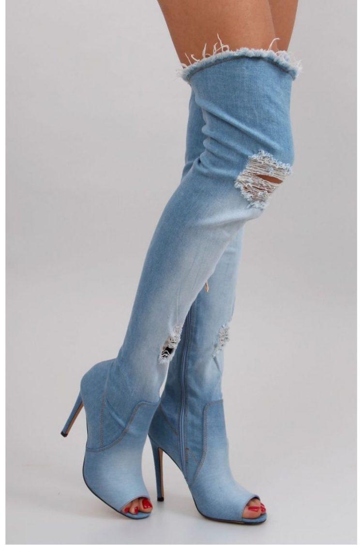 Τζιν ψηλοτάκουνες μπότες - Μπλε 1