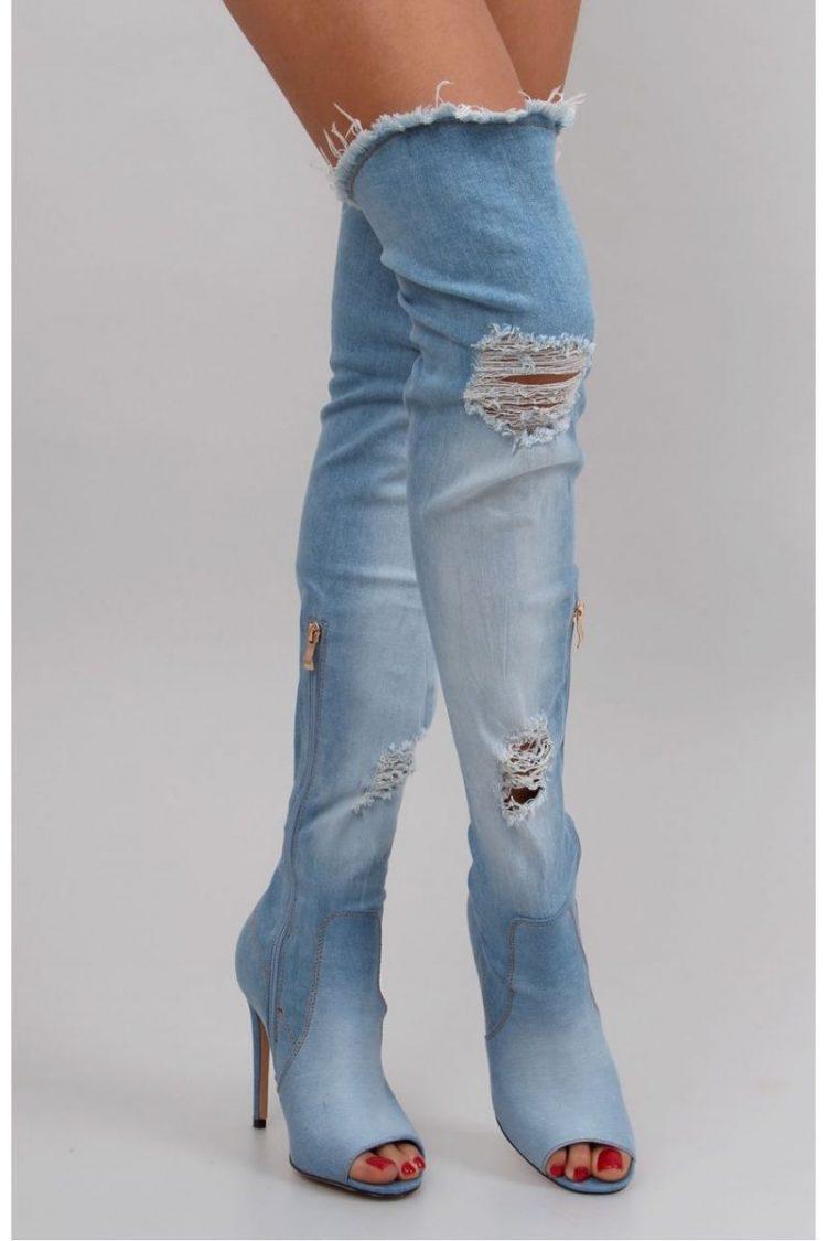 Τζιν ψηλοτάκουνες μπότες - Μπλε 2