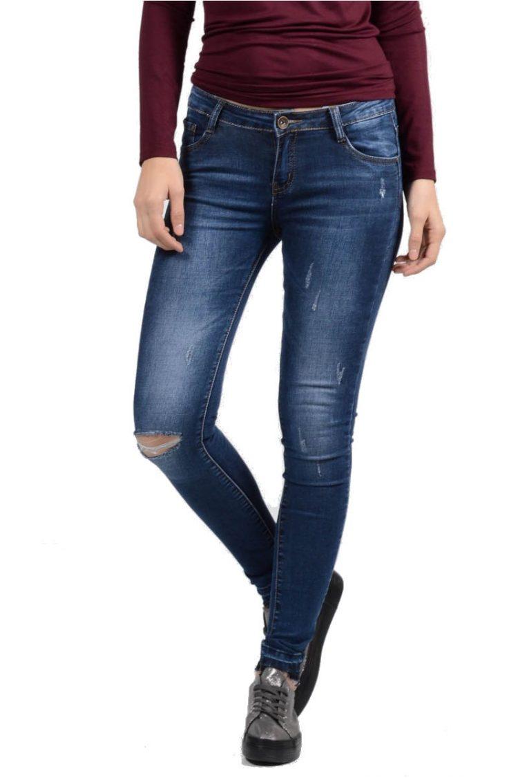 Τζιν παντελόνι με σκίσιμο - Μπλε