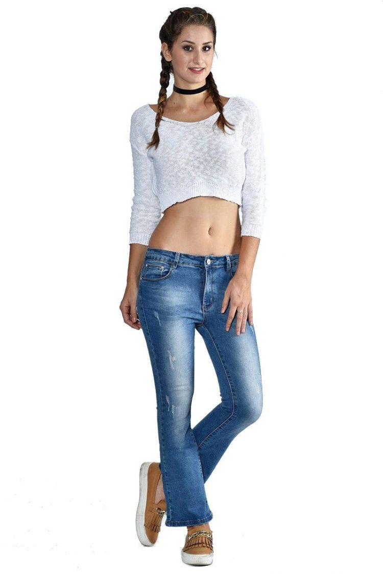 Τζιν παντελόνι καμπάνα με τσέπες - Μπλε