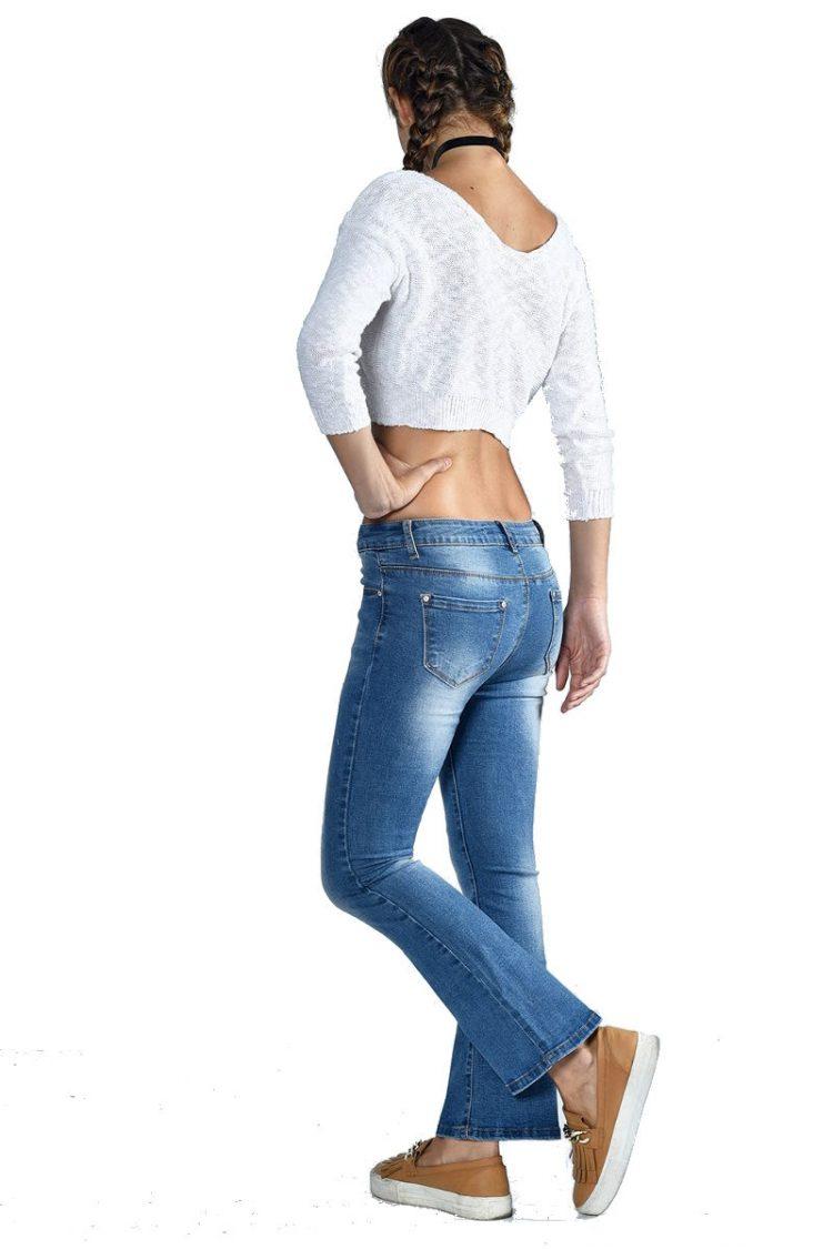 Τζιν παντελόνι καμπάνα με τσέπες - Μπλε 1