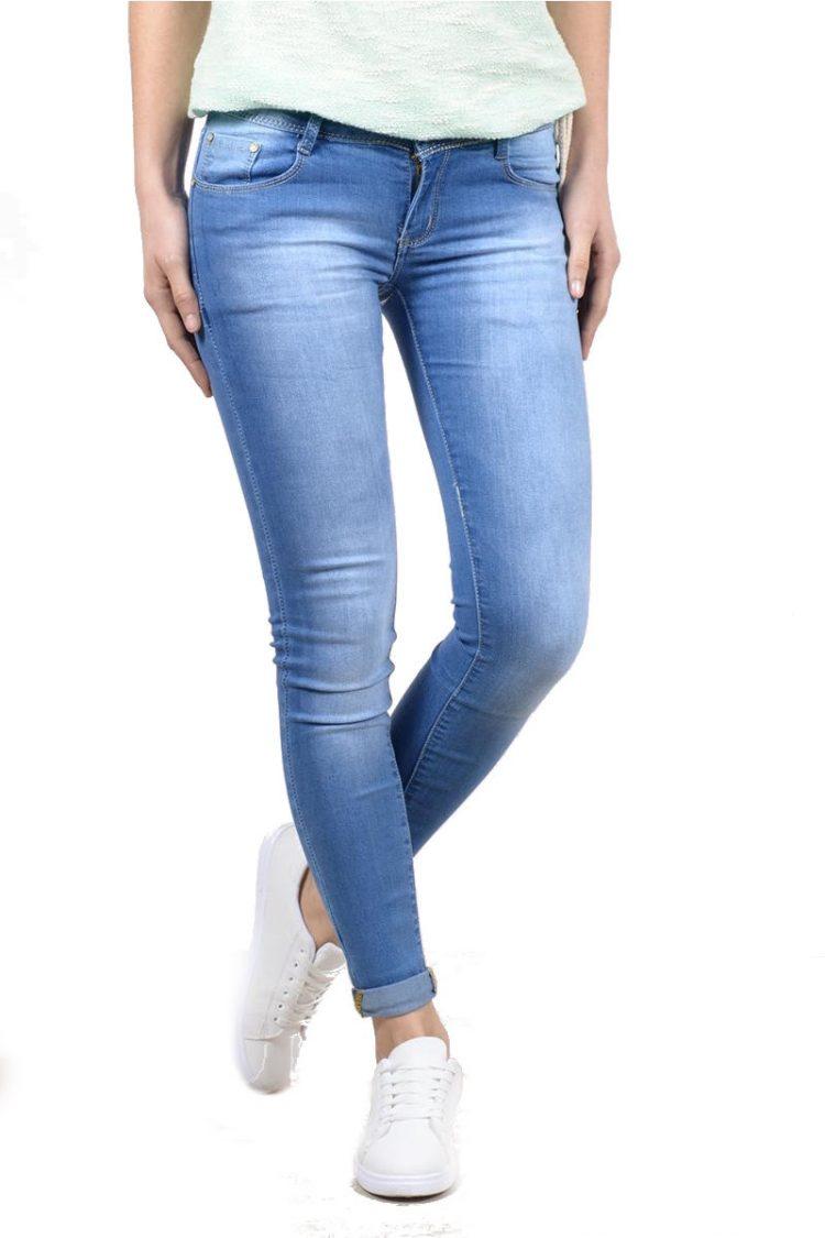Ξεβαμμένο τζιν παντελόνι - Μπλε