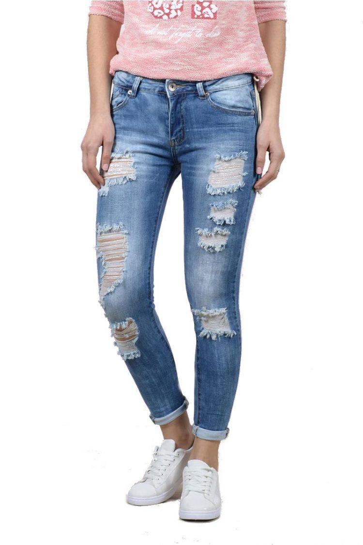 Ξεβαμμένο τζιν παντελόνι με σκισίματα - Μπλε 2