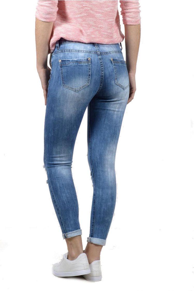 Ξεβαμμένο τζιν παντελόνι με σκισίματα - Μπλε 1