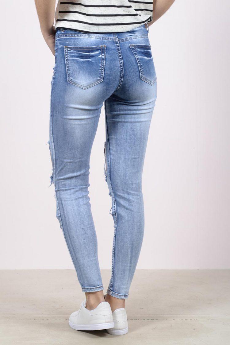 Ξεβαμμένο τζιν παντελόνι με μεγάλα σκισίματα - Μπλε 1
