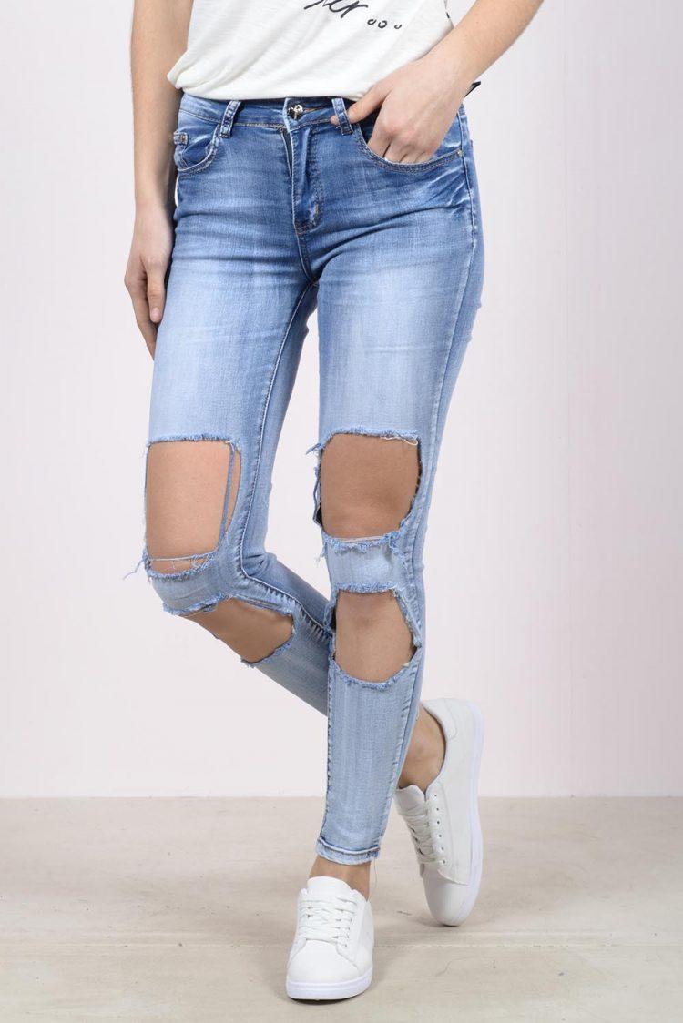 Ξεβαμμένο τζιν παντελόνι με μεγάλα σκισίματα - Μπλε 2