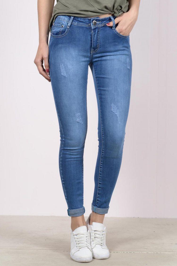 Ξεβαμμένο τζιν παντελόνι - Μπλε 2