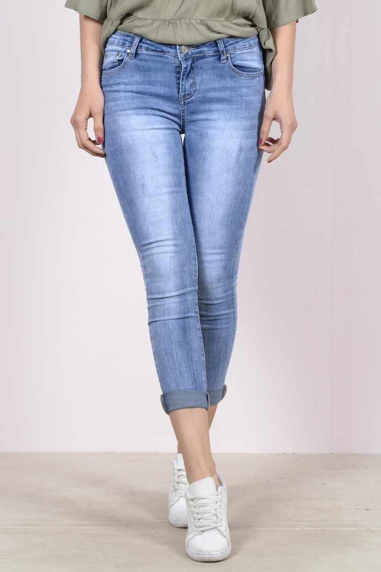 Ξεβαμμένο κάπρι τζιν παντελόνι - Μπλε