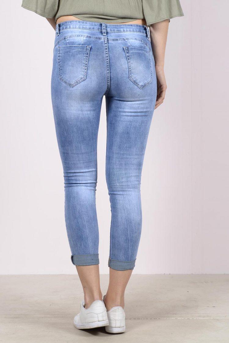 Ξεβαμμένο κάπρι τζιν παντελόνι - Μπλε 1