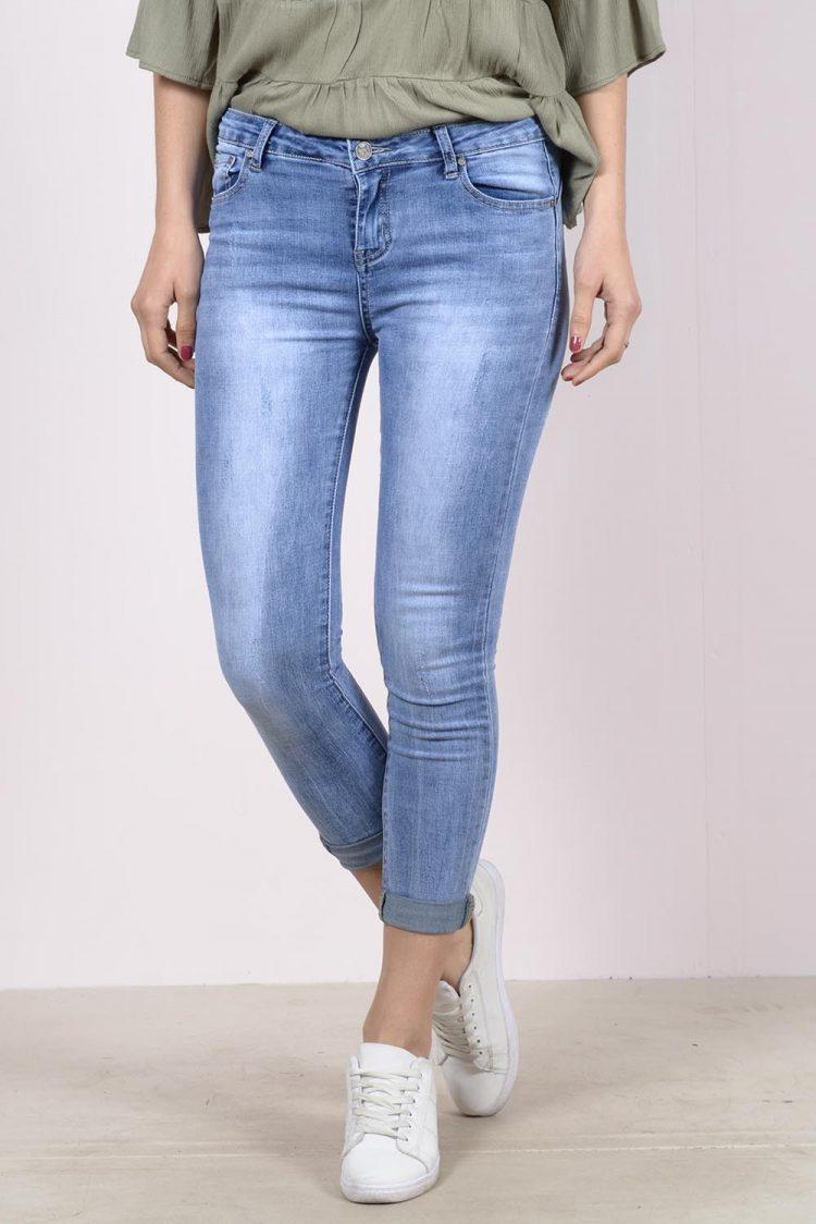 Ξεβαμμένο κάπρι τζιν παντελόνι - Μπλε 2