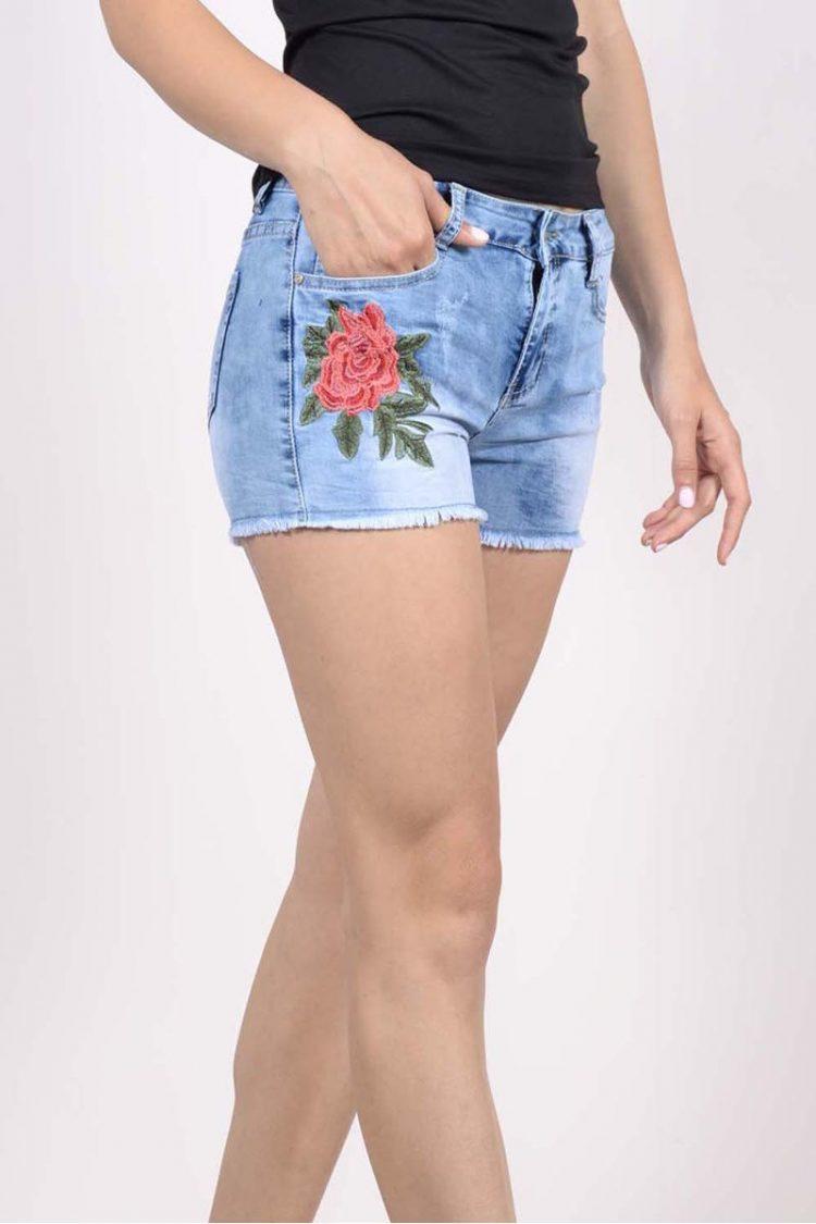 Τζιν σορτς με κέντημα λουλούδι - Μπλε 2