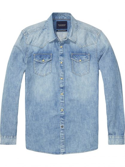 Scotch & Soda Amsterdams Blauw Πουκάμισο (Denim)
