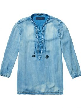 Scotch and Soda Lace up πουκαμίσα (Denim)