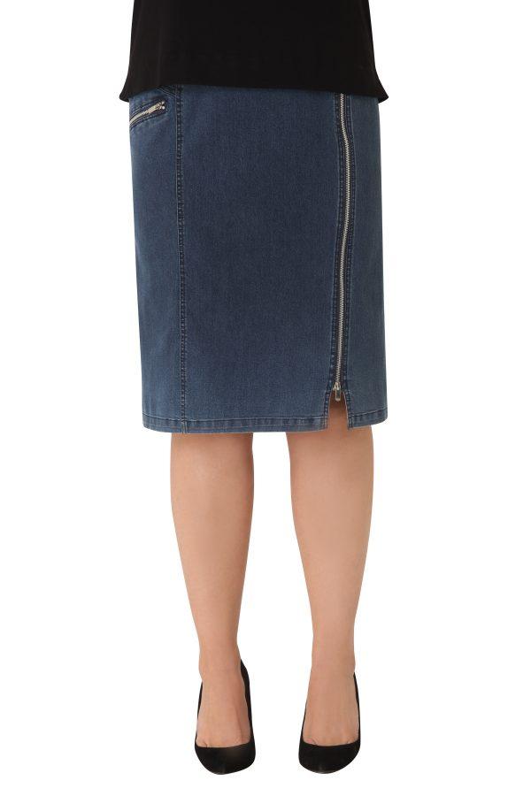 Denim φούστα με φερμουάρ.