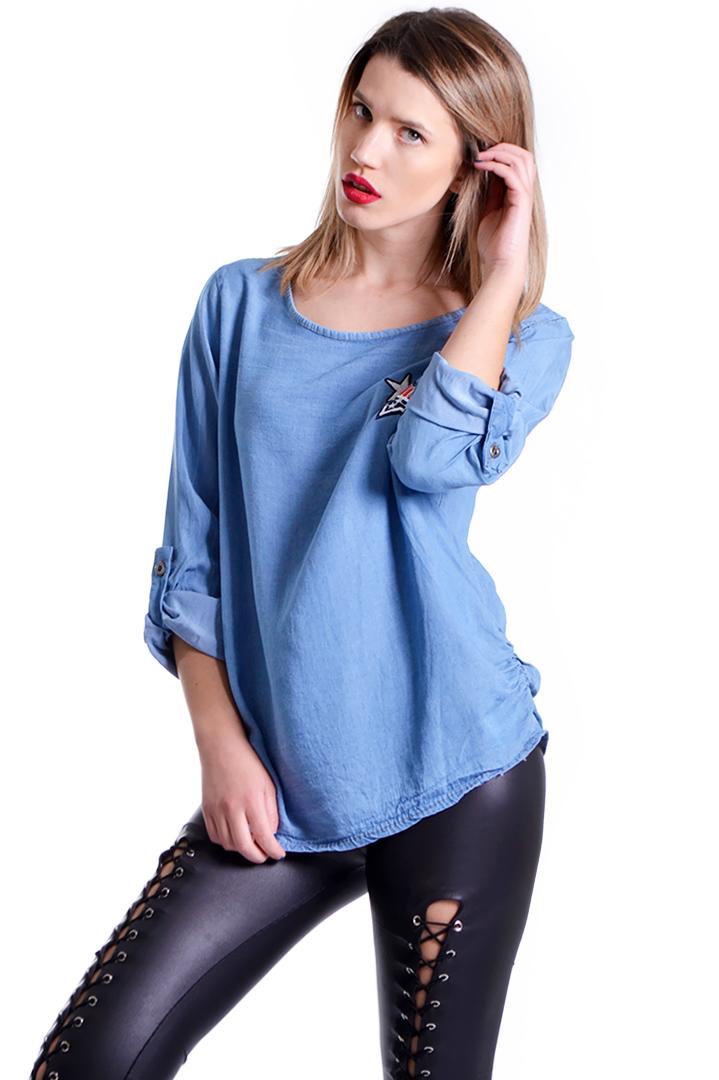 Denim μπλούζα με διακοσμητικά patches