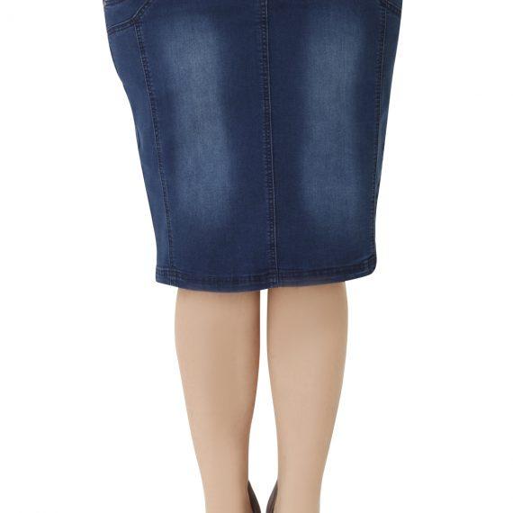 Ελαστική τζιν φούστα σε ίσια γραμμή