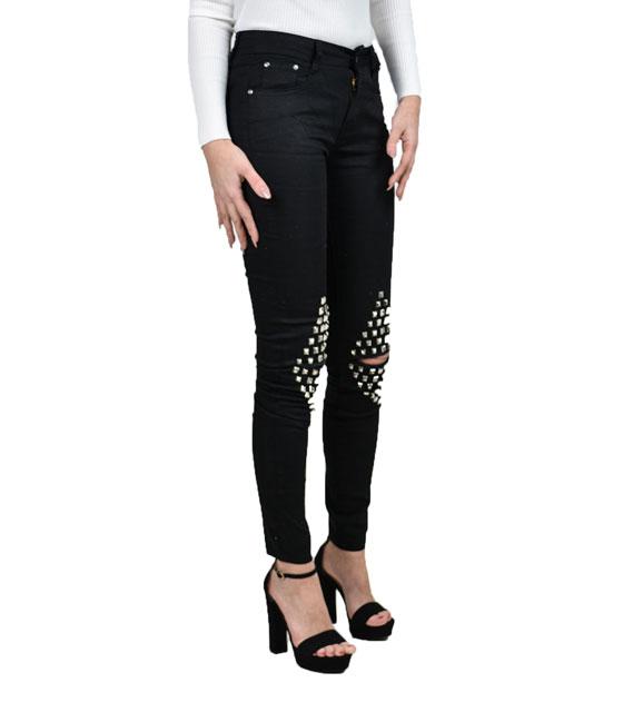 Παντελόνι με σκισίματα στο γόνατο και τρουκς Μαύρο