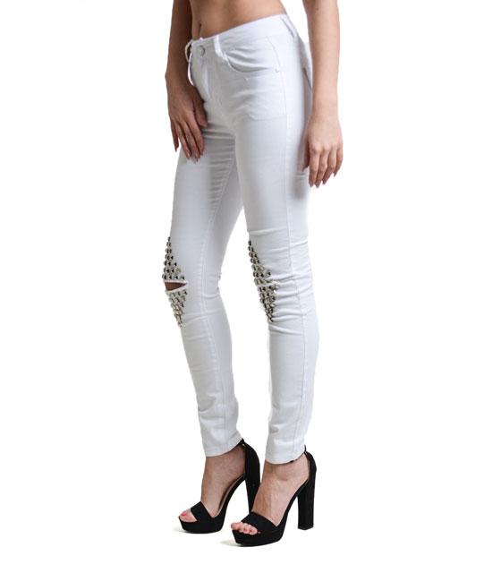 Παντελόνι με σκισίματα στο γόνατο και τρουκς Λευκό