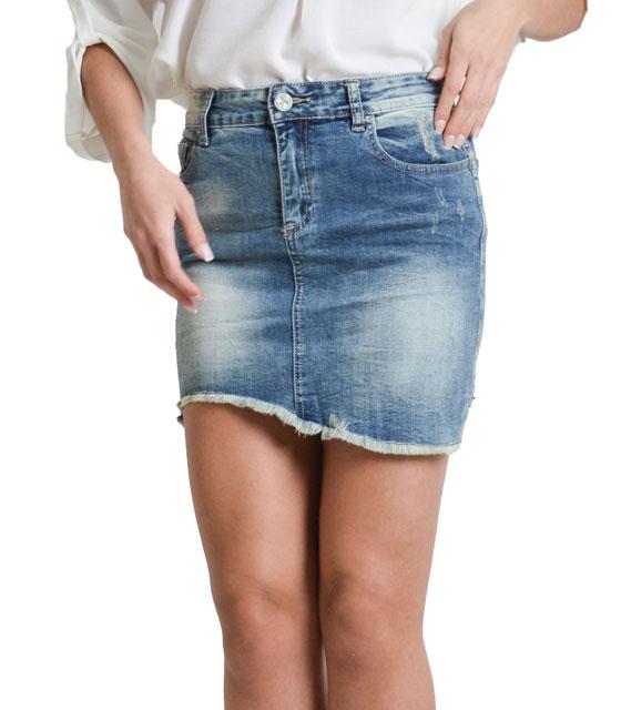Τζιν φούστα με ασύμμετρο τελείωμα και τσέπες
