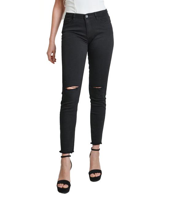 Μαύρο ψηλόμεσο τζιν με σκίσιμο στο γόνατο