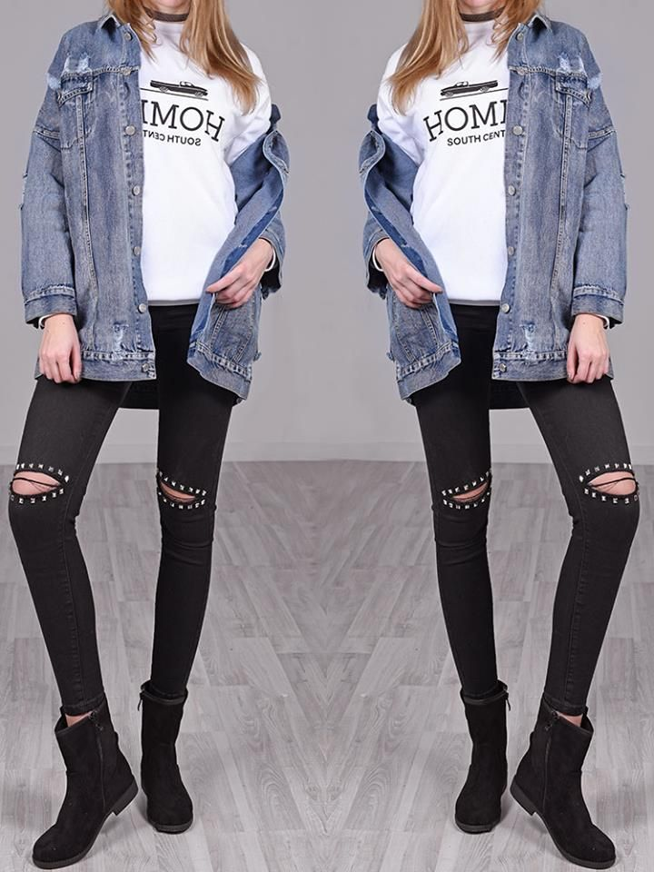 BLACK KNEE STUDS RIPPED JEANS 3