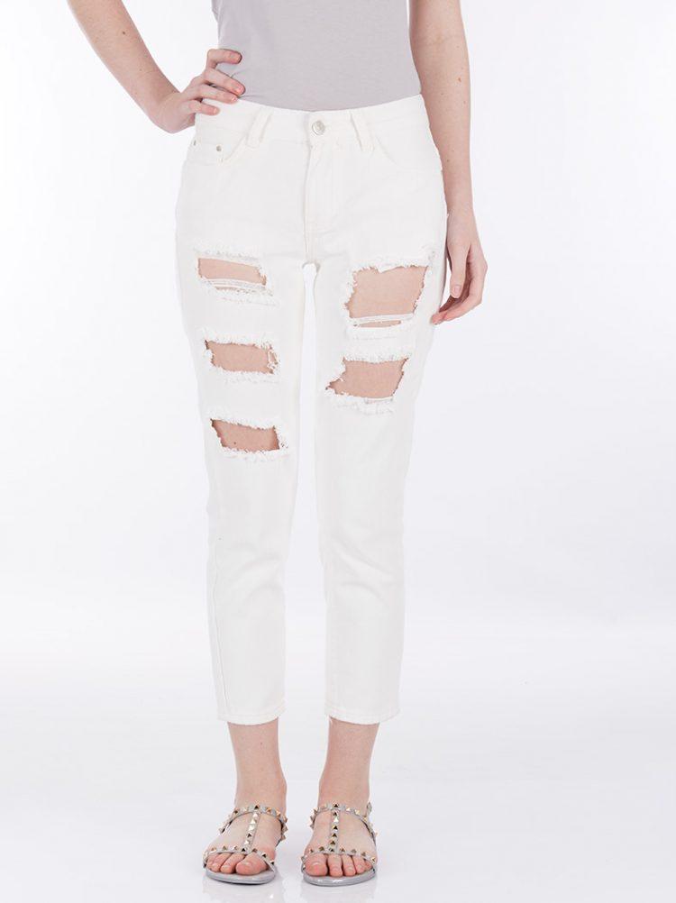 Τζιν παντελόνι με σκισίματα - Άσπρο