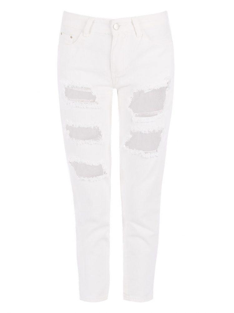 Τζιν παντελόνι με σκισίματα - Άσπρο 2