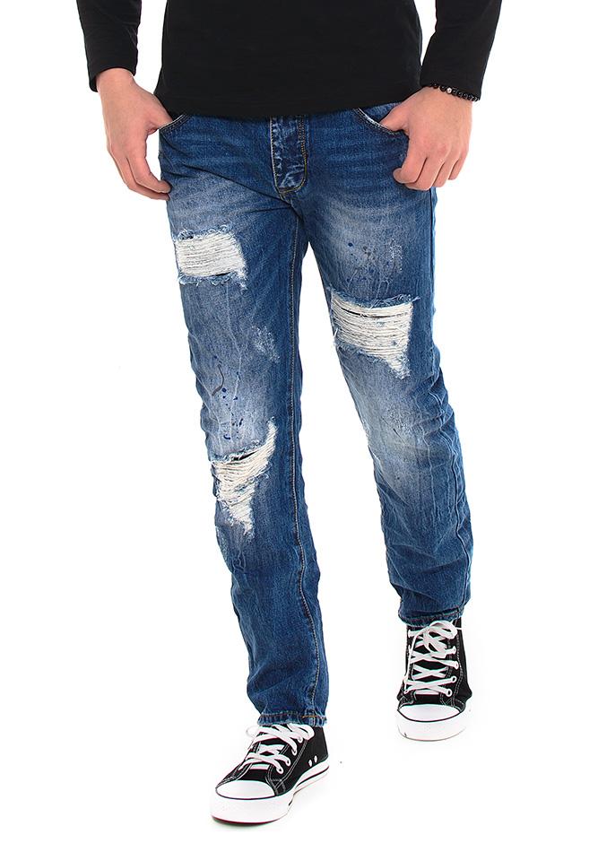 Ανδρικό jean Παντελόνι X-Three Blue Splash