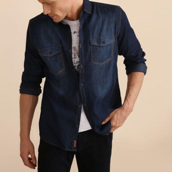 TOP SECRET top secret ανδρικο τζιν πουκαμισο