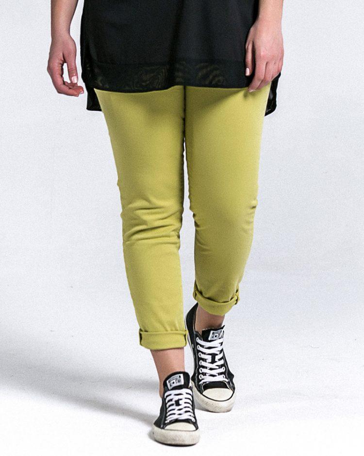 Slim-leg τζιν σε lime απόχρωση (Lime, XS) 1