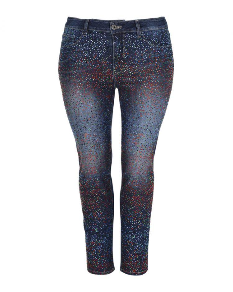 Τζιν deep blue σε slim γραμμή με πολύχρωμα strass (Denim, XS)