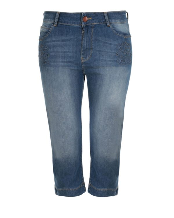 Cropped old-fashioned blue τζιν με διακόσμηση (Denim, XS)